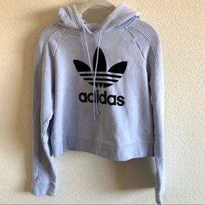 Adidas Cotton Flocked-Logo Cropped Hoodie Size XS